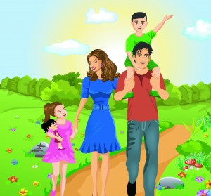 Happy family together vector (1)