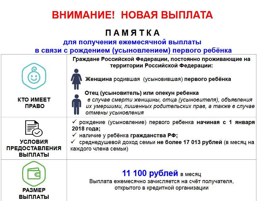 Новая выплата. С рождением(усыновлением) первого ребёнка