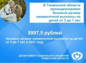 В Тюменской области проиндексирован базовый размер ежемесячной выплаты на детей от 3 до 7 лет
